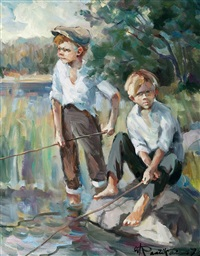 boys fishing by orvo raatikainen