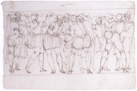 a group of tradesmen two carrying platters on their heads by ercole setti