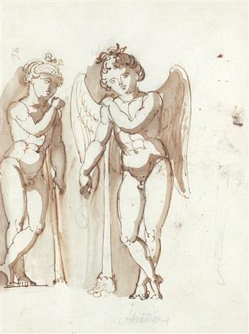 figurkomposition med ängel och mansfigur figur sketch verso by jonas akerstrom