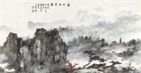 春山古寺图 (landscape) by liang boyu