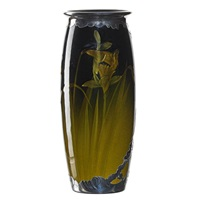 standard glaze vase with daffodils and silver overlay by anna m. valentien