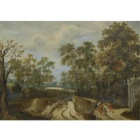 peasants on a country road at a forest edge, a church beyond by willem van den bundel