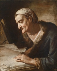 alte philodophin, die sich über ein buch beugt (vecchia filosofa piegata su un libro) by pietro bellotti
