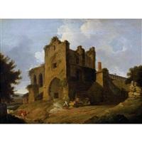 englische landschaft mit kirchenruine und staffage by thomas daniell