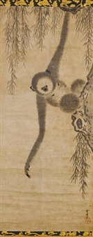 kakejiku (a tenaga-zaru (long-armed gibbon) hanging from the branch of a willow, reaching down for the unseen moon in the water) by sesshu toyo