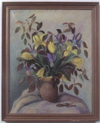 iris and tulips by harriette g. miller