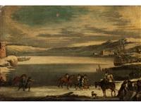 winterliche uferlandschaft mit ziehenden reitern by johann philipp lemke