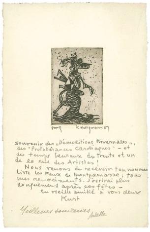 lettre originale Gravure originale et lettre autographe by Kurt Seligmann on artnet lettre originale