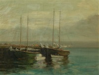sailboats in the harbour by paul barnard earle