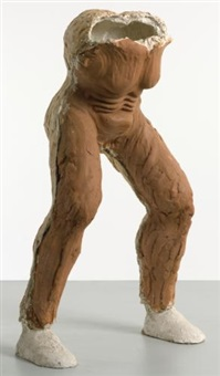 untitled (folded man red stomach) by thomas houseago