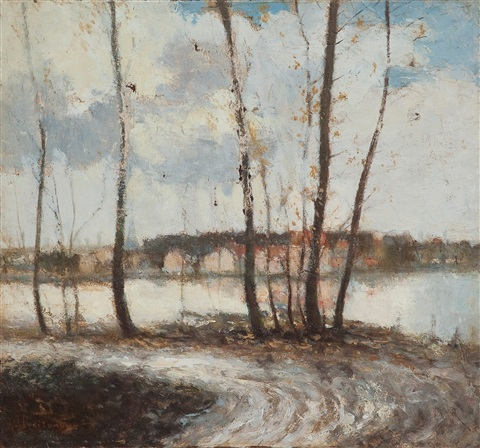 autumn landscape in the outskirts of paris by ivan pavlovich pokhitonov