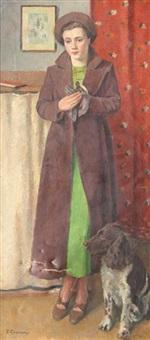 jeune femme au chien diana et pouk by eugene louis corneau