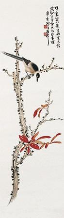 红叶翠鸟 (red leaves & bird) by xie zhiliu