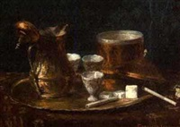 still life with copper tea service and burning cigarette by emerich imre greguss