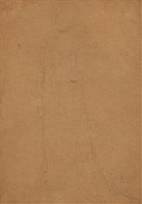 stehende dame mit eingebeugtem linken arm, von vorne (study for portrait of serena lederer) by gustav klimt