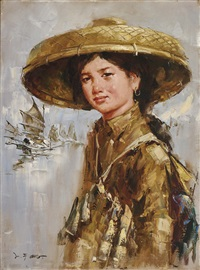 a young woman wearing large woven fishing hat by lee man fong