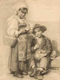 zwei italienische bauernkinder by wilhelm auberlen