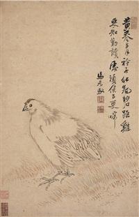 红冠碧距图 (hen) by ma yuanyu