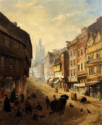 old newcastle street scene with figures by samuel dukinfield swarbreck