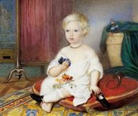 bildnis eines blonden knaben, in seinem spielzimmer auf einem roten polster sitzend by franz blessinger