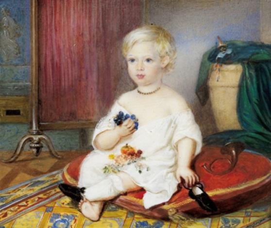 bildnis eines blonden knaben in seinem spielzimmer auf einem roten polster sitzend by franz blessinger