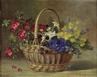 stillleben mit alpenblumen im henkelkorb by maria kistler