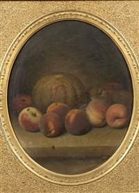 still life with apples, peaches, and melon by peter baumgras