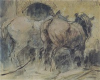 horses ploughing by leon senf