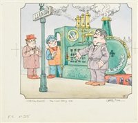 eight drawings from noggin the nog, basil brush or ivor the engine books (8 works) by peter firmin