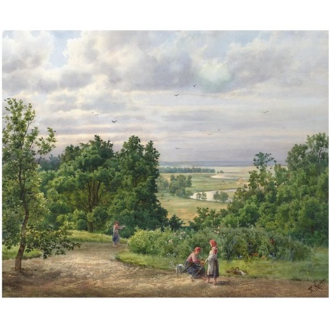 landscape with peasants by p klodt