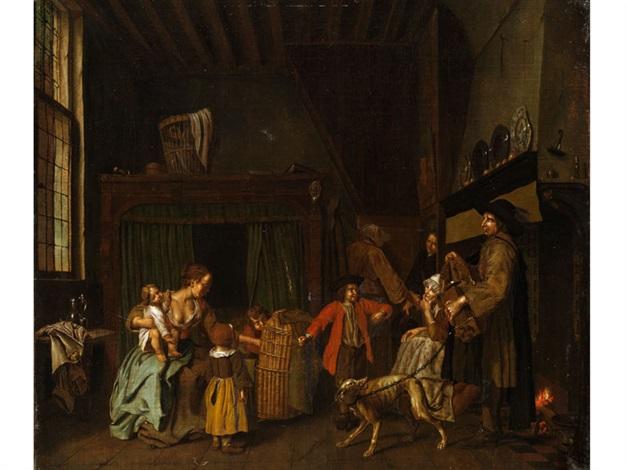 genreszene in bürgerlichem interieur mit einem leierkastenspieler by jan josef horemans the younger