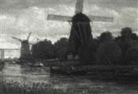holländische kanallandschaft by van houten