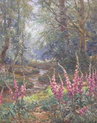 foxgloves in the new forest by frederick golden short