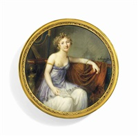 a young lady, seated, in décolleté white silk and lilac muslin dress, revealing right breast, wearing gold armlet and bracelet, holding a letter in her right hand inscribed italie en by jean baptiste jacques augustin