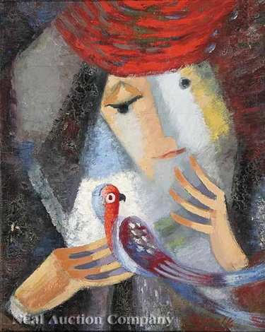 woman in red hat with parrot by viktor rafael gyözö