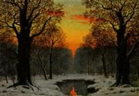 winterabend im hausbruch by ludwig fischbeck