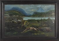 native americans standing by a lake with mountains in the distance by william matthew prior