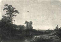 wooded landscape with cattle watering by joseph rhodes