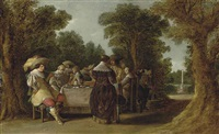 a banquet with elegant company in a wooded landscape by dirck hals