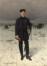 portrait of a russian volunteer by nikolai dmitrievich dmitriev-orenburgsky