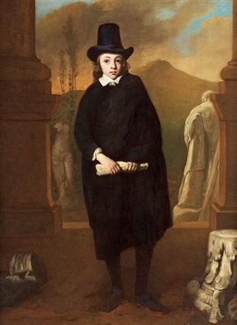 porträtt av en pojke i ett landskap by thomas de keyser