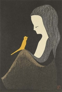 a girl seated in profile with a yellow bird perched on her knee (collab. w/masaharu aoyama,+ 2 others: 3 works) by kaoru kawano