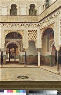 orientalist scene of a palatial courtyard by f. liger hidalgo