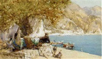 the boat ashore, villefranche by george charles haite