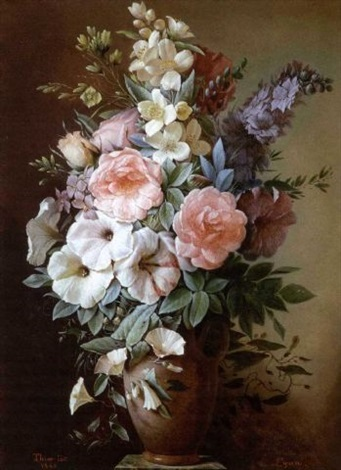 nature morte au vase de fleurs sur un entablement by augustin alexandre thierriat de lyon on artnet. Black Bedroom Furniture Sets. Home Design Ideas