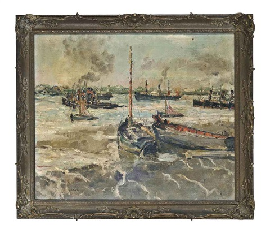 tugs at anchor off gravesend by paul ayshford methuen