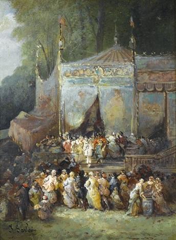 höfische gesellschaft vor einem zirkuszelt by paul denarie