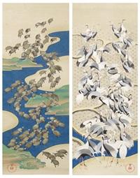 a pair of kakejiku forming a complete diptych by kiyu ichikawa