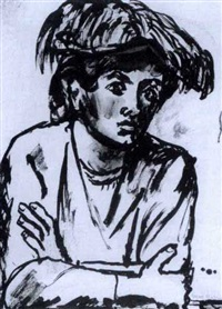 study of woman with a hat by max kahn