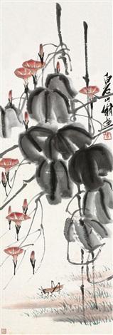 牵牛蚱蚂 (flower) by qi baishi